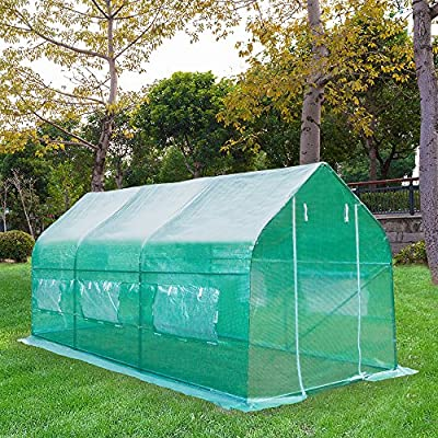 Z ZTDM 15'×7'×7' Outdoor Large Green House Walk in Greenhouses Tents Plants Gardening Backyard Protective Shed Nursery Grow (15'×7'×7')