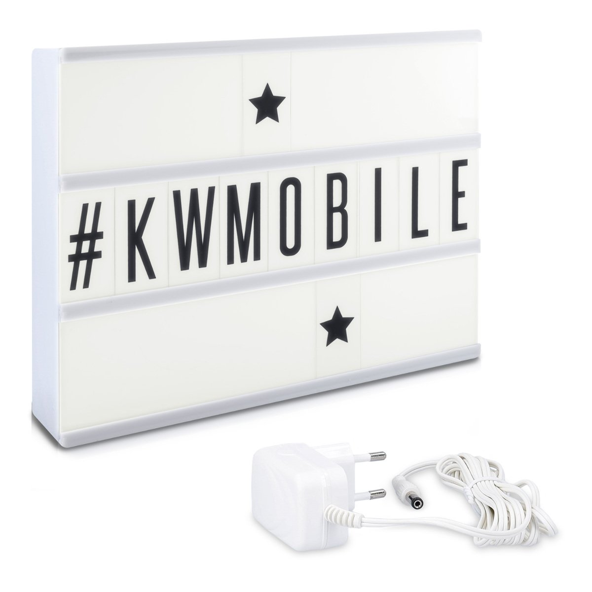 USB Netzteil Kino Leuchtkasten Vintage Lampe 378 Buchstaben Zahlen schwarz bunt Emoji kwmobile LED Lichtbox A4 Lightbox Deko Leuchte Light Box