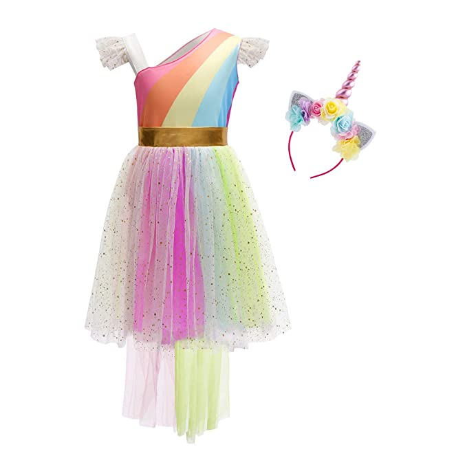 70f28dfdcb261 Amazon.com: Girls Rainbow Unicorn Birthday Dress up Sequins Ruffle Tulle  Skirt Kids Party Pageant Princess Halloween Fancy Costume: Clothing