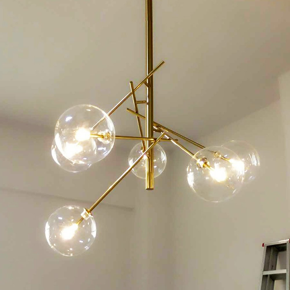 Yoka lighting modern metal pendant lighting hanging lamp ceiling chandelier with 6 lights gold finish fixture flush mount amazon com