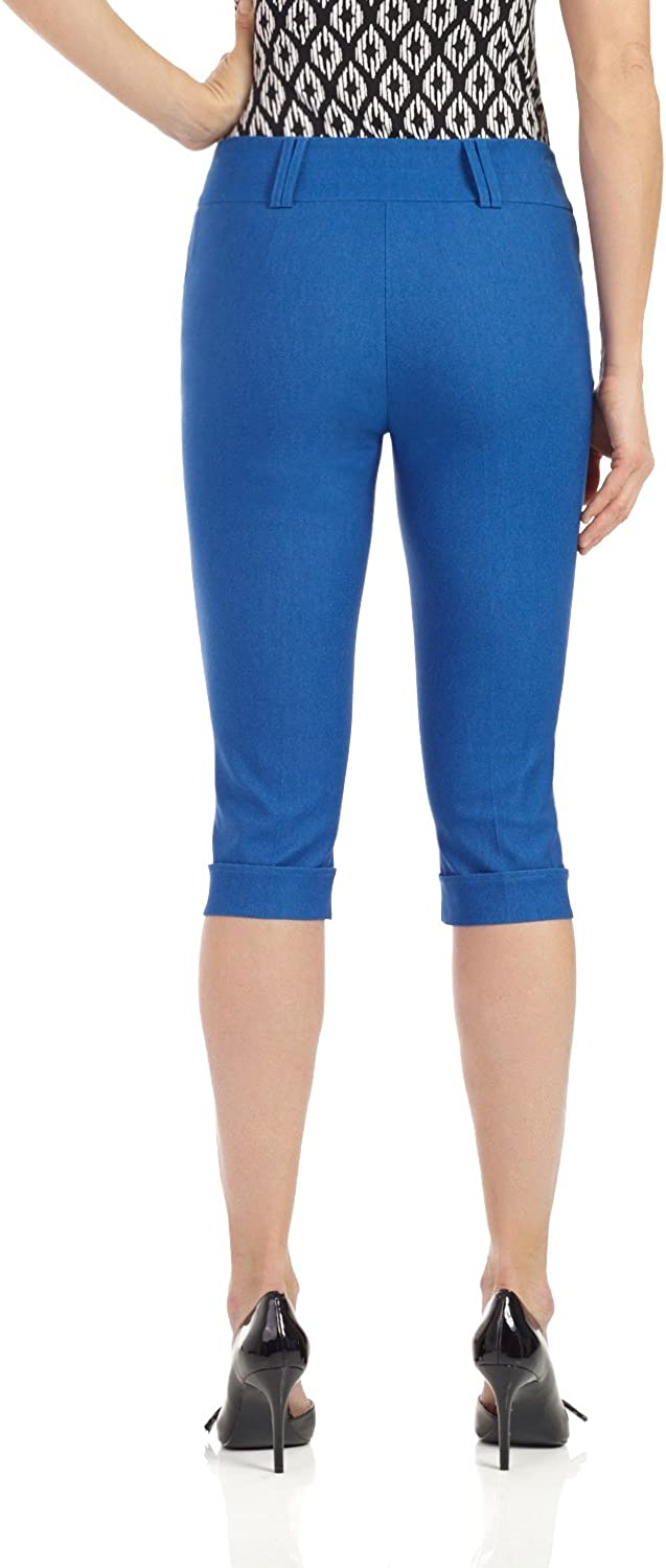Rekucci Womens Ease in to Comfort Stretchy Slim Fit Capri with Cuff Detail