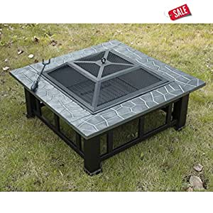 "Fireplace Heater Outdoor 32"" Square Patio Fire Backyard Steel Fireplace & Cover - Skroutz"