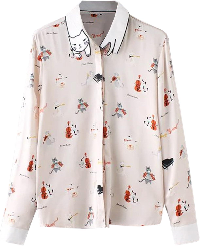 Futurino Women S Cat Pattern Collar Button Down Kawaii Shirt Long Sleeve Blouse Shirt Amazon Co Uk Clothing