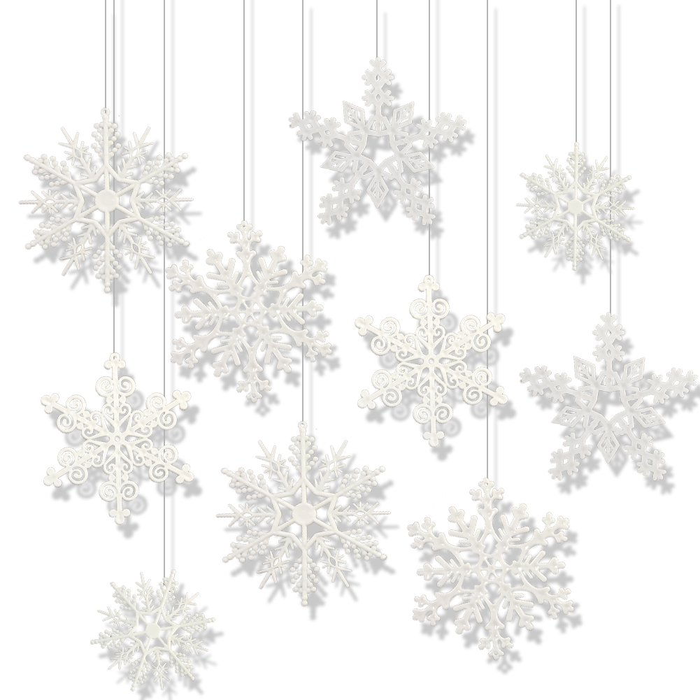 Boieo 24 Pack Acrylic Snowflake Christmas Decorative Hanging Ornaments