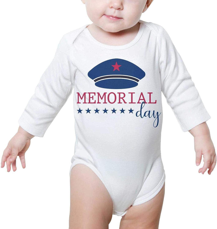 PoPBelle Military Cap Memorial Day Newborn Romper Long Sleeve Neutral Cotton Unisex