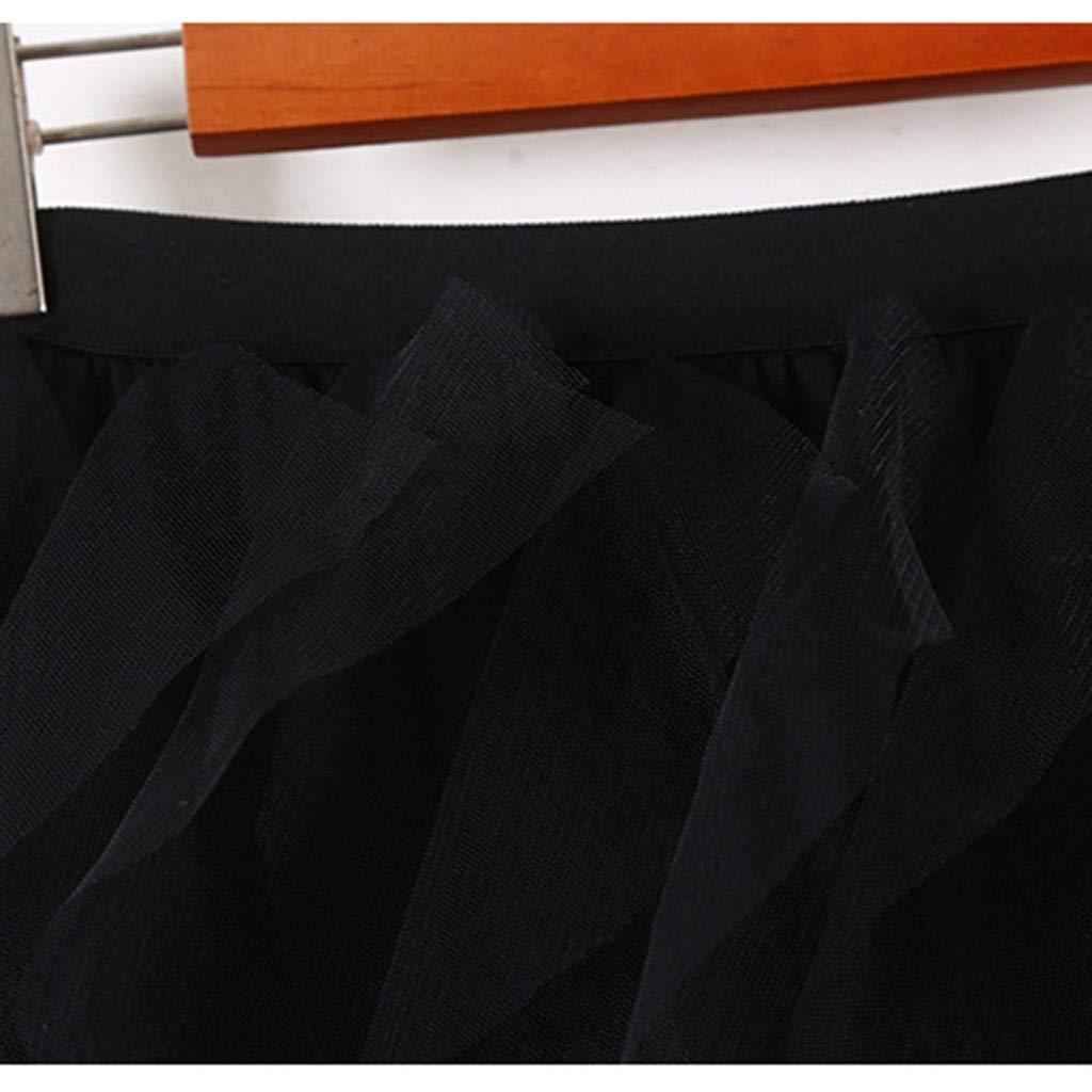 2019 Women A-Line Skirt Princess Long Skirt Tutu Tulle Petticoat Petticoat Basic Irregular Pleated Ball Gown Skirts (Black, Free Size) by Tanlo (Image #7)
