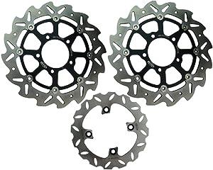 Mallofusa Motorcycle Front Rear Brake Disc Rotor Set Compatible for Kawasaki ZX6R NINJA 600 2007-2015 & ER6F 650 2006-2015 & ZX-10R 1000 2004-2015