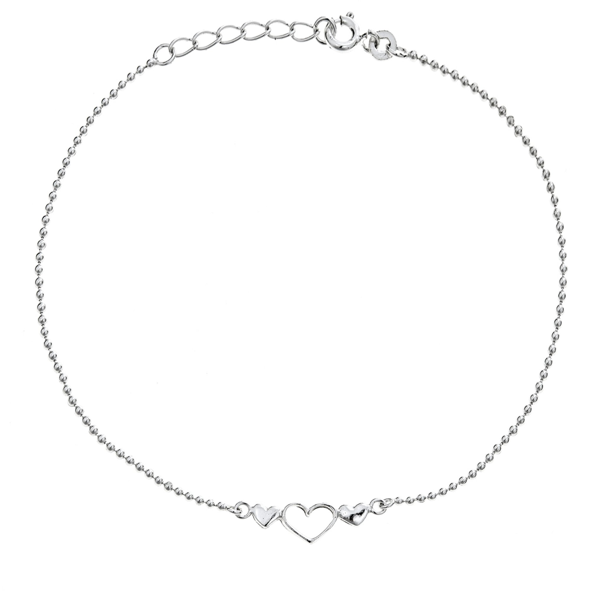 Sterling Silver Open Three Heart Beaded Anklet Adjustable 9-10 Inches
