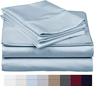 """600 Thread Count 100% Long Staple Soft Egyptian Cotton SheetSet, 4 Piece Set, QUEEN SHEETS,upto 17"""" Deep Pocket, Smooth & Soft Sateen Weave, Deep Pocket, Luxury Hotel Collection Bedding, SKY BLUE"""