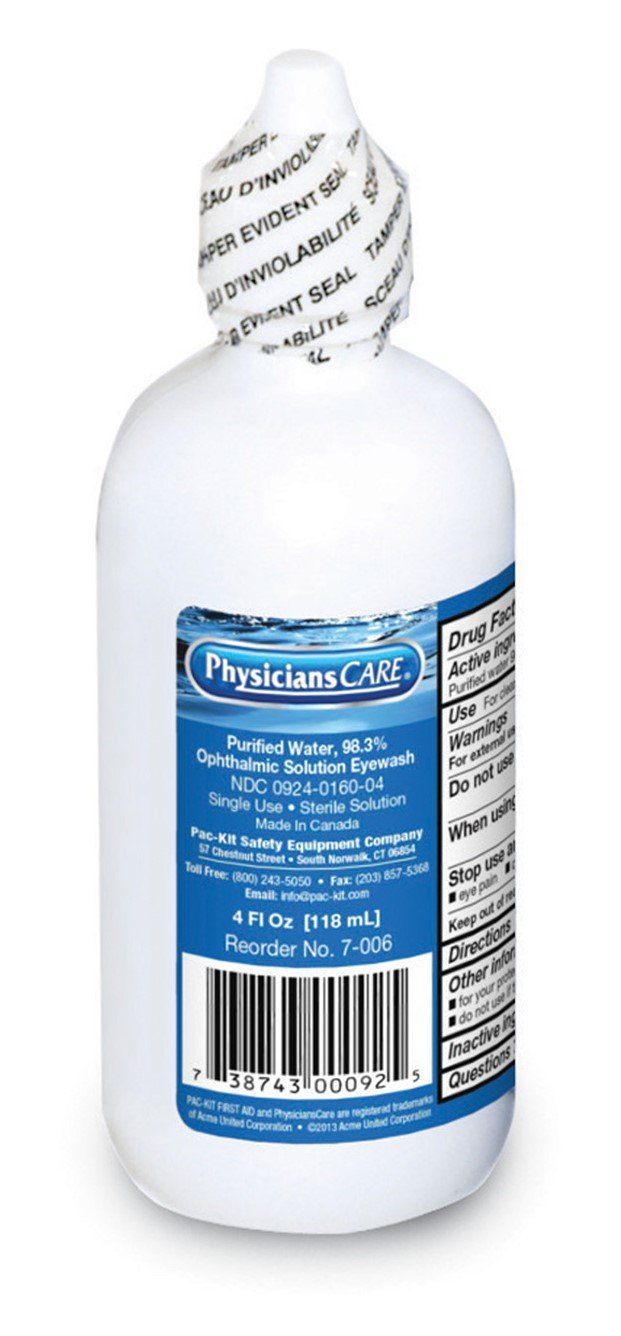 Pac-Kit by First Aid Only 7-006 Eye Wash Solution, 4 oz Bottle (Case of 48)