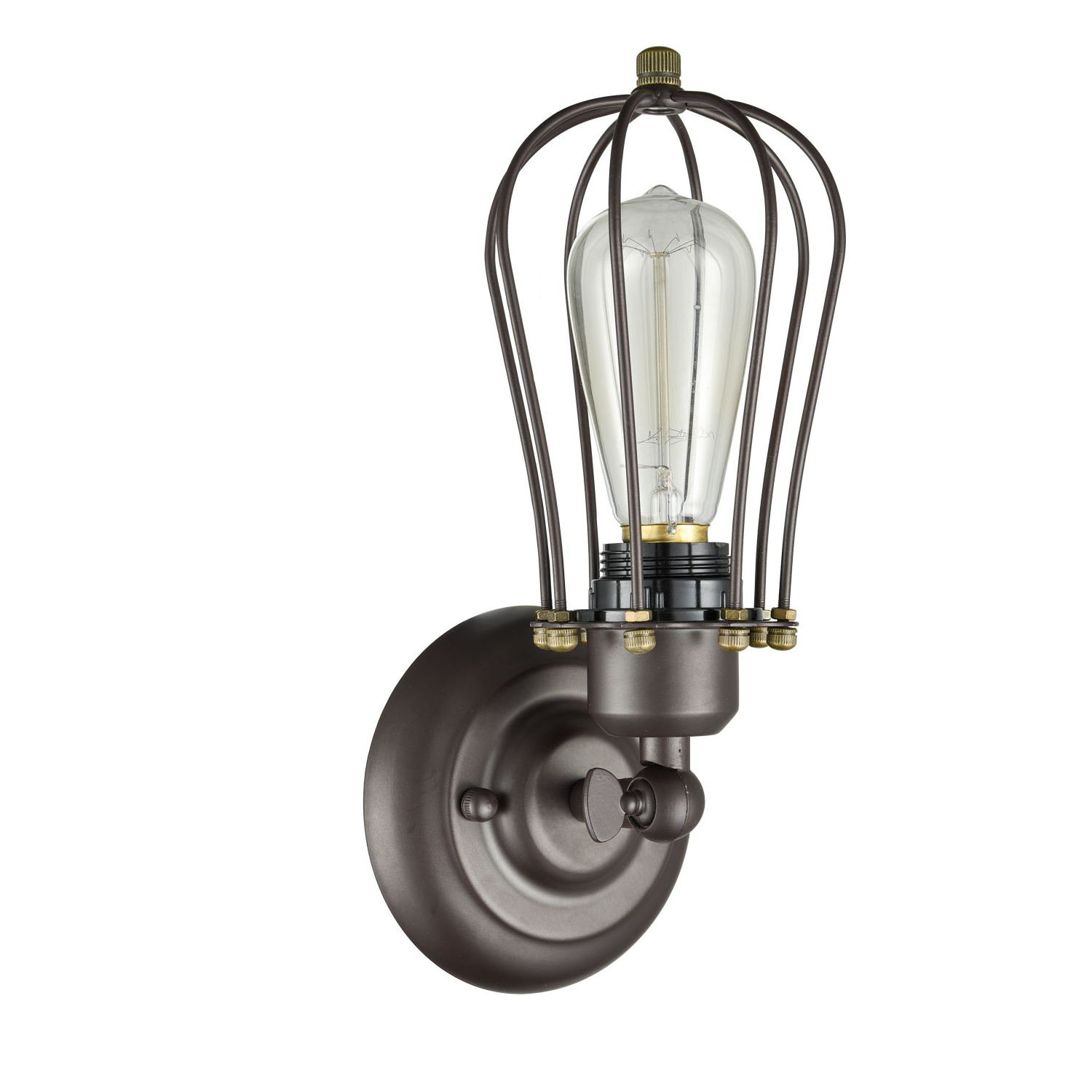 Chloe loft industrial 2 light oil rubbed bronze wall sconce free - Claxy Ecopower Vintage Style Industrial Oil Rubbed Bronze Mini Wire Cage Wall Sconce Amazon Com
