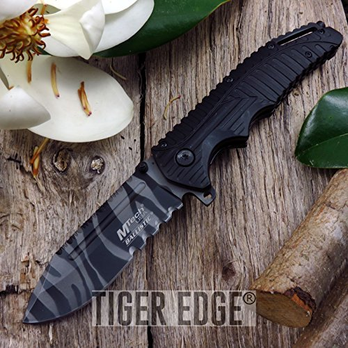 (NEW! Mtech Urban Camo Tiger Stripe Serrated Tactical Folding ProTactical Limited Edition Elite SPRING ASSISTED knife)