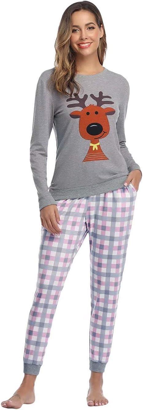 Hawiton Mujer Pijama de Algodón Ropa de Dormir de Manga Larga ...