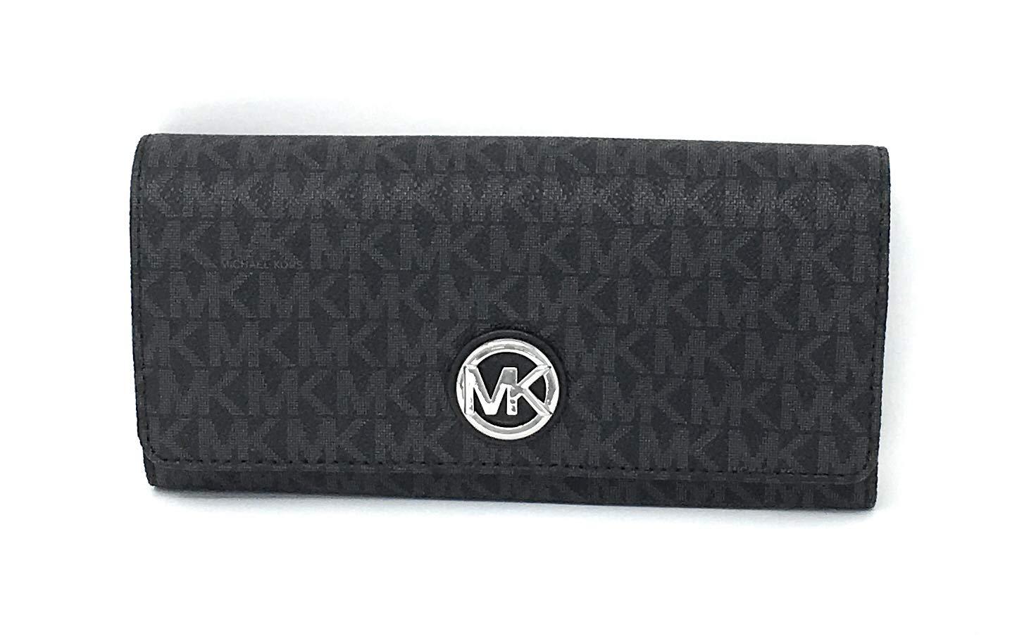 Michael Kors Signature PVC Fulton Flap Continental Wallet- Black