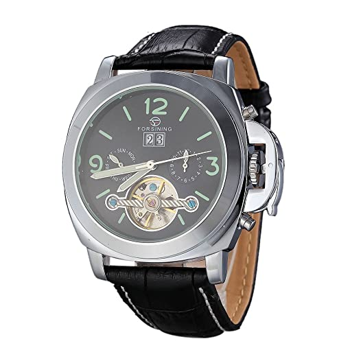 FORSINING Fashion Top Brand Luxury Men Leather Machinery Automatic 30M Waterproof Watches