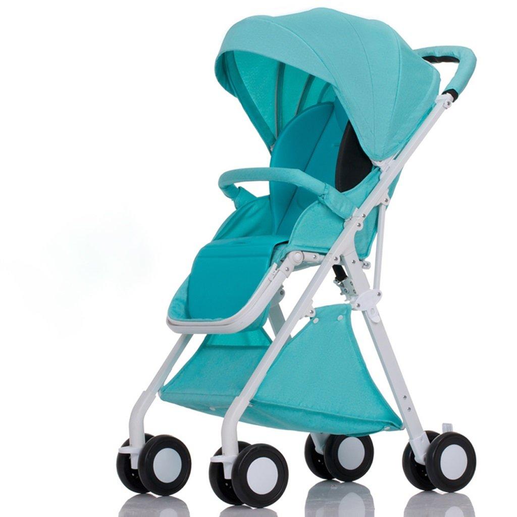 赤ちゃんのベビーカーはリクライニング軽量折りたたみ小型四輪ポータブルミニベビー傘(青)(グレー)(ピンク)(赤)55 * 40 * 105センチメートル ( Color : Blue ) B07BSY8B2Y