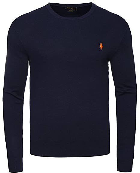 2e9fc4b9 New Mens Ralph Lauren Crew Neck Long Sleeve Polo Sleepwear Nightwear Top  Custom Fit T Shirt Size SML XL XXL (Large, Navy)
