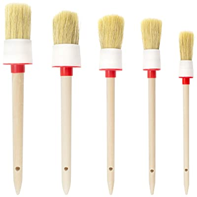 Maicreafie Detail Brush Kit, Natural Boar Hair Detail Brush Set for Car Motorcycle Automotive Cleaning Wheels, Dashboard, Interior, Exterior, Leather, Air Vents, Emblems, 5PCS: Automotive