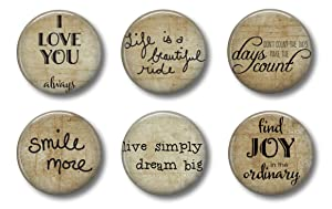 FARMHOUSE MAGNETS - Inspirational Quotes Burlap Look Set of 6 - Fridge Magnets - Cute Whiteboard Magnets For Home School or Office
