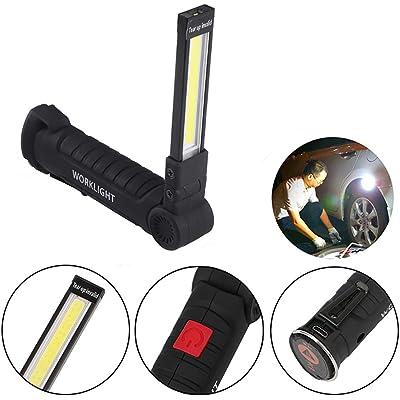 ONEVER linterna eléctrica recargable USB Luz del trabajo de la linterna LED portátil para náutico COB magnético Gancho de camping exterior autofficina lámpara (1PC)