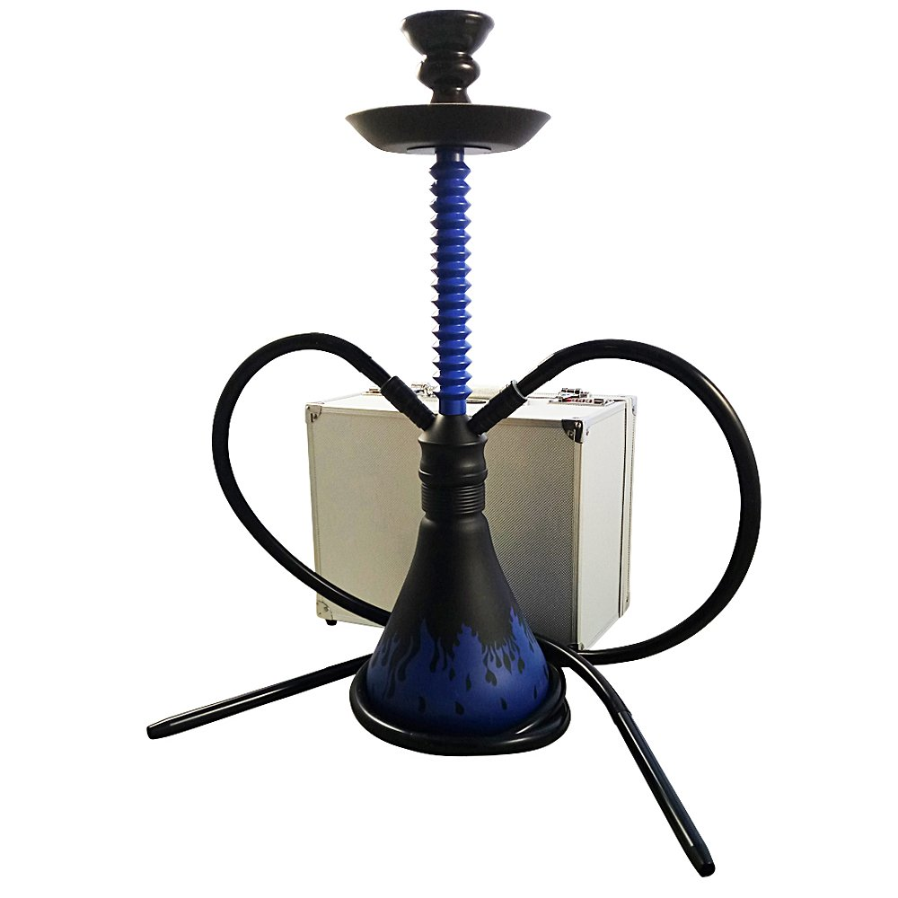 The 24'' Blue Fire Aluminum Hookah Shisha With a Premium Carry Case & 2 Silicone Hose