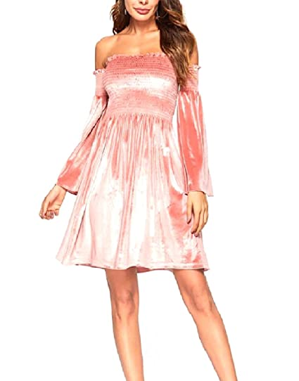 6ec1f418d60 Abetteric Womens Trumpet Sleeve Tube Top Velvet Shoulder Off Mini Dresses  Pink XS