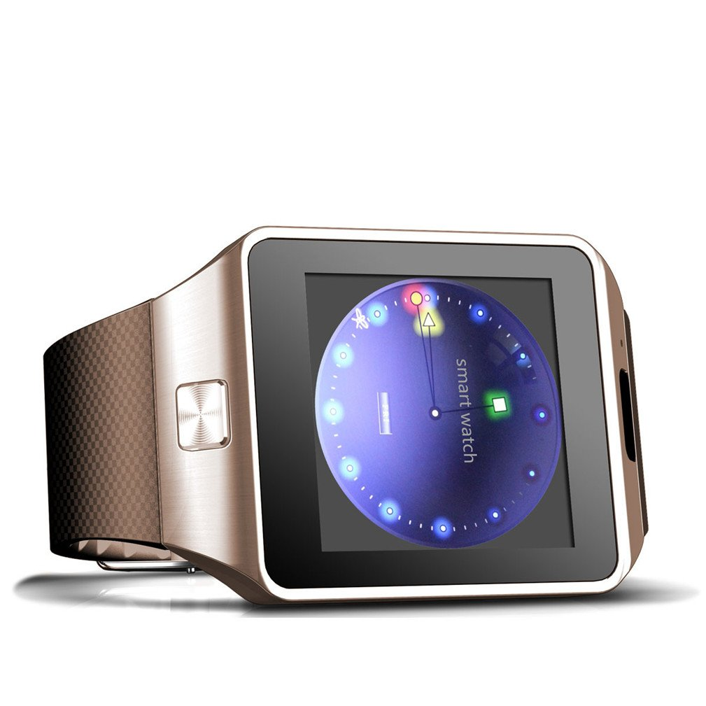 Smart Watch for Android With Camara ,OURSPOP Touch Screen wristWatch Unlocked Watch Cell Phone with Touch Screen GSM 2G SIM Card Sleep Monitor Remote Sync for Android iPhone (z09 gold)