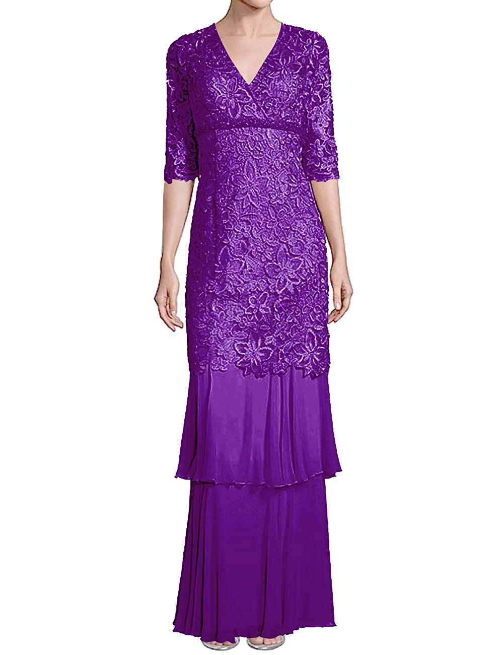 Dark Purple H.S.D Mother of The Bride Dresses Lace Formal Gowns Long Evening Dresses Sleeve Tiered