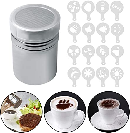 Accmor 2pcs Stainless Steel Powder Shakers Sifter For Sugar Pepper Powder Cocoa Flour Cupcake With 16 pcs Printing Molds Stencils For Latte Powder Shaker With Lid,Chocolate Shaker Cappuccino