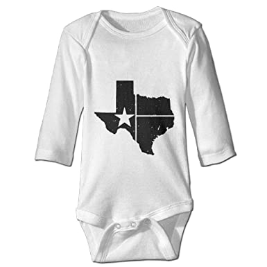 51ba21d4f23 Amazon.com  PUREYS-I Printed Distressed White Texas State Flag Cute Baby  Boys Long Sleeves Romper Jumpsuit Bodysuit  Clothing