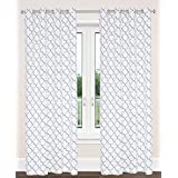 Brighton Cotton Geometric Print Grommet Curtain Panels (Set of 2)  54x95-in, White/Silver/Grey