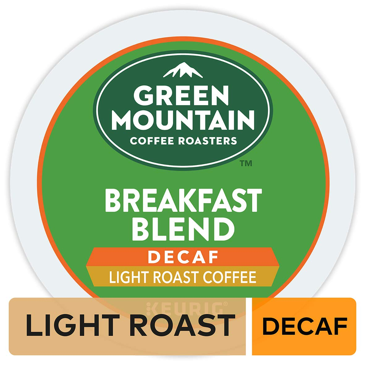Green Mountain Coffee Roasters Breakfast Blend Decaf, Single Serve Coffee K-Cup Pod, Light Roast, 72