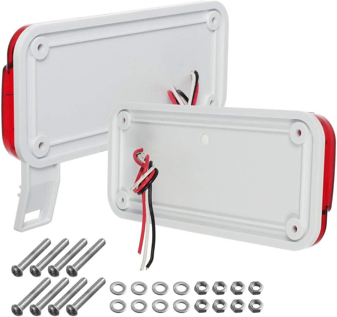 Black Base Partsam Red LED RV Camper Trailer Stop Turn Brake Tail Lights//License Plate Light Holder Bracket Surface Mount Led Low Profile Combination RV Tail Lights Clear Lens