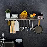 KES 32-Inch Kitchen Wall Mount Pot Pan Rack with Towel Bar Wall Shelf SUS 304 Stainless Steel Rustproof Brushed Finish, KUR207S80-2