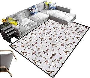 Paris Bedroom Carpet Romance Language Capital of Love Eiffel Heart Fashion City Valentines Print Rectangle Carpet Redwood Pearl Pink (6'x8')