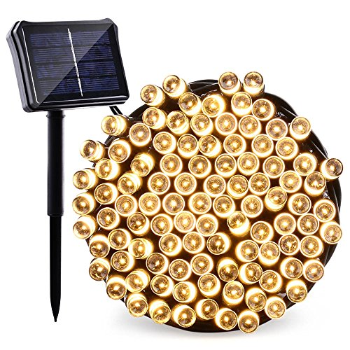 Qedertek Upgraded Solar/Battery Powered String Lights, 72ft 200 LED Dual Power Seasonal Decorative Fairy Lights for Christmas, Home, Garden, Patio, Lawn and Party Decorations(Warm White)
