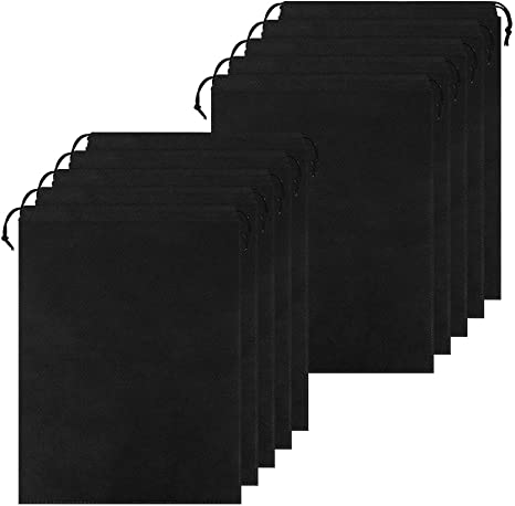 10pcs Non-Woven Black Shoe Bag with Drawstring Bundle Dustproof Best for Travel//Carrying