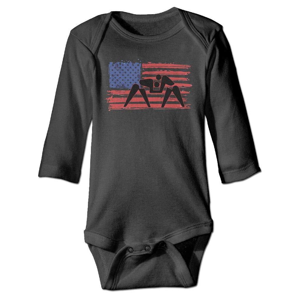 Clarissa Bertha American Flag Wrestling Baby Boys Girls Long Sleeve Onesies Bodysuits by Clarissa Bertha