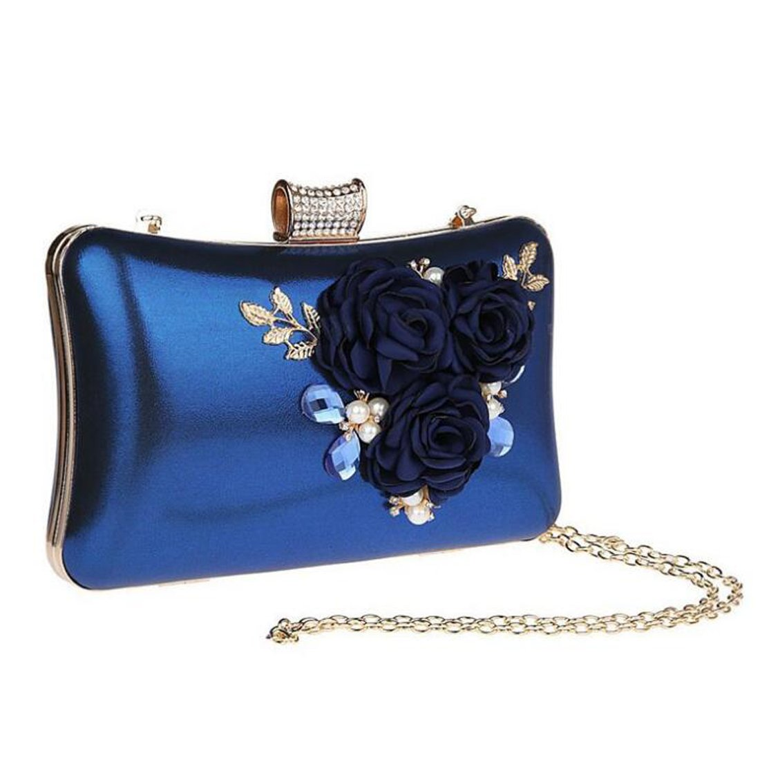 7110e52ddd4ad EPLAZA Women Large Capacity Flora Evening Clutch Bags Wedding Party Purse  Handbags Wallet (blue)  Amazon.co.uk  Clothing