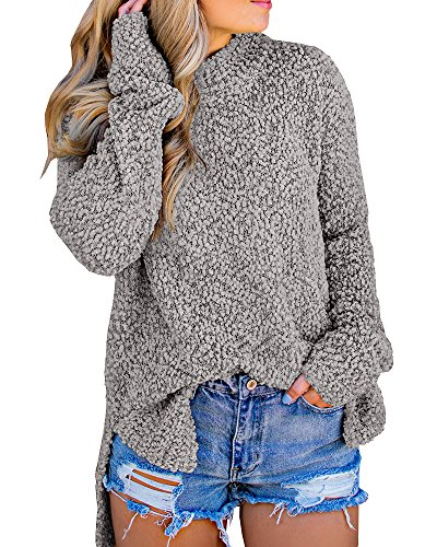 YOMISOY Womens Long Sleeve Fleece Pullover Casual Plain High Low Split Sherpa Sweatshirts Tops
