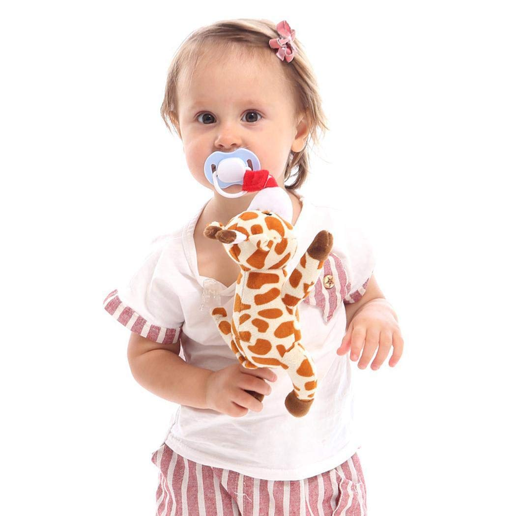 Loukou Creative Baby Clip Removable Suspension Animal Plush Doll Toy Silicone Nipple Pacifiers by loukou