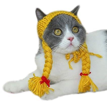 Tejido a mano Sombrero para mascotas Chica Escorpión Sombrero Gato Peluca  Gato Sombrero Accesorios para el 31125e9a03b