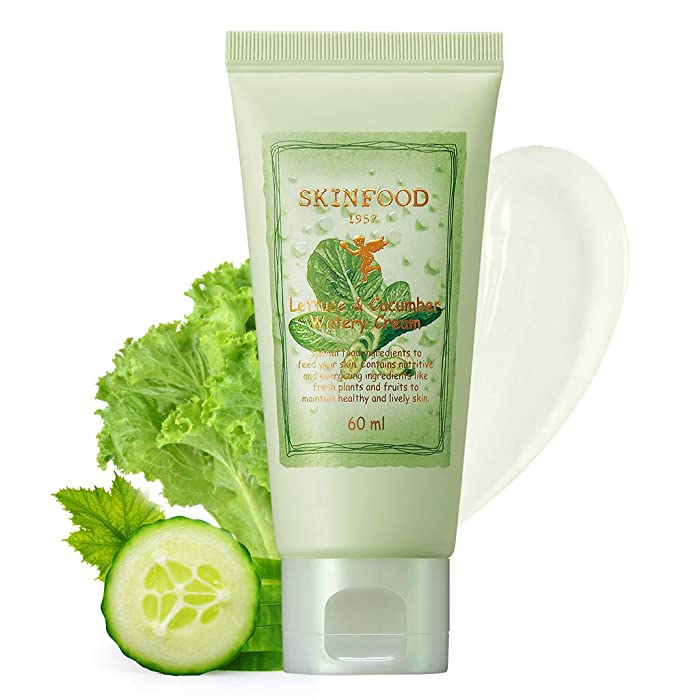 SKINFOOD Lettuce & Cucumber Watery Cream 2.02 oz (60ml) - Skin Cooling & Soothing Intensive Hydrating Facial Cream, Redness Relief, After Sun Care