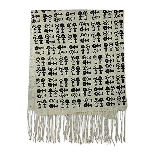 NOVICA Black and White 100% Cotton Shawl, 'Akuaba' by NOVICA