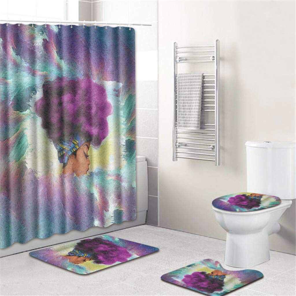 LUXISDE Home Shower Curtain Bathroom Mat Rug Toilet Cover Bath Pad Set Big Size 4Pcs by LUXISDE (Image #2)
