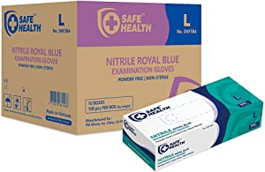 SafeHealth - Blue Nitrile Exam Gloves, Case of 1000, 3.5 Mil, Large, Powder/Latex-Free, Finger Textured, Disposable, Medical Grade, Food, Tattooed, General Use