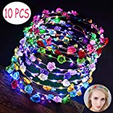 LED Flower Crown, Fascigirl 10pcs Glow Headbands Luminous Wreath Light-up Bridal Headpiece Wedding Headdress Hair Hoop for Festival Holiday Christmas Halloween Party Favors Accessories for Women