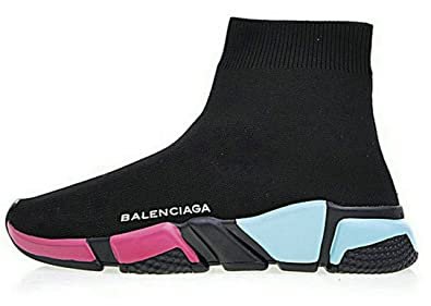 bb241684983f5a Image Unavailable. Image not available for. Colour: Balenciaga Speed  Stretch-Knit Mid Rainbow Sole Womens Trainer Sneakers