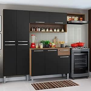 Cozinha Completa Compacta Madesa Emilly com Armário e Balcão Preta