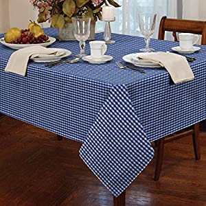 Gingham check square tablecloth dining room or for Dining room table 54 x 54